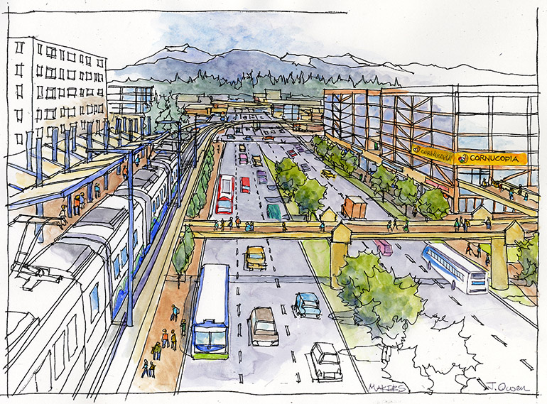 Artistic rendering of street view looking east at 8th Ave W