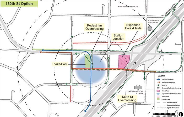 Map of 130th Street Station Option with key features identified