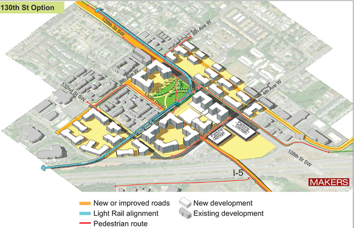 Aerial representation of 130th Street station option showing key features identified