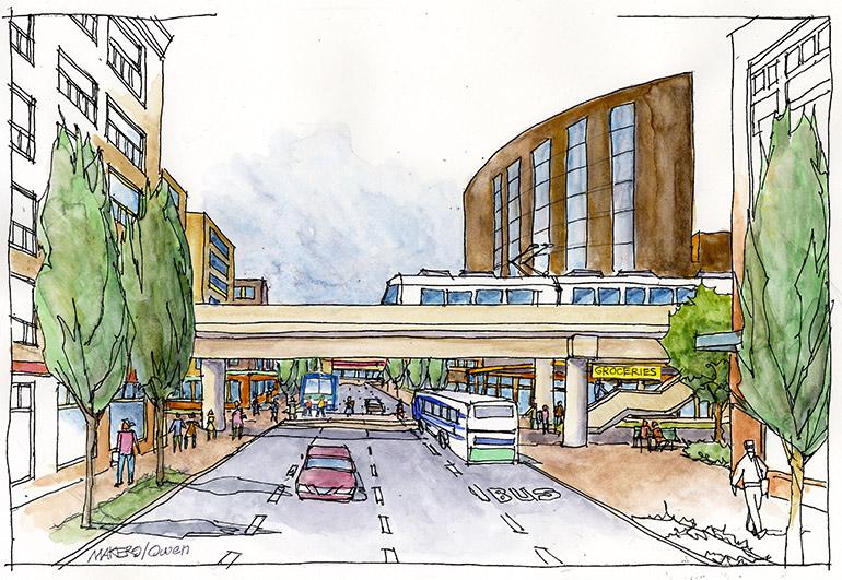 Artistic rendering of street view looking east at 130th Street