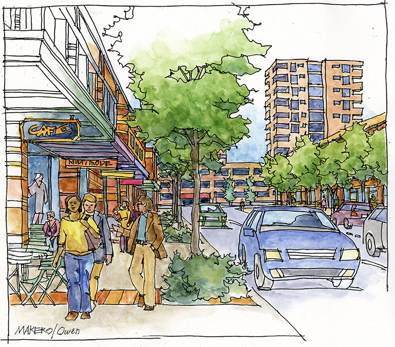 Artistic rendering of street view looking east on 22nd Ave W
