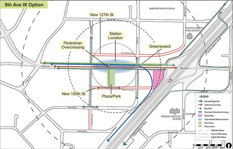 Map of 8th Ave W station option with key features identified