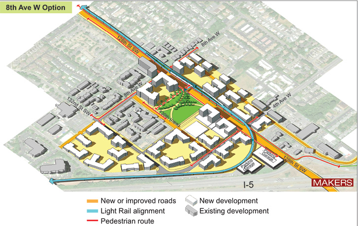 Aerial representation of 8th Ave W station option showing key features identified
