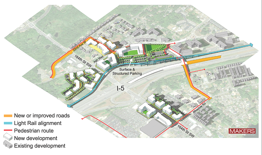 Aerial representation of Ash Way Park & Ride station option showing key features identified