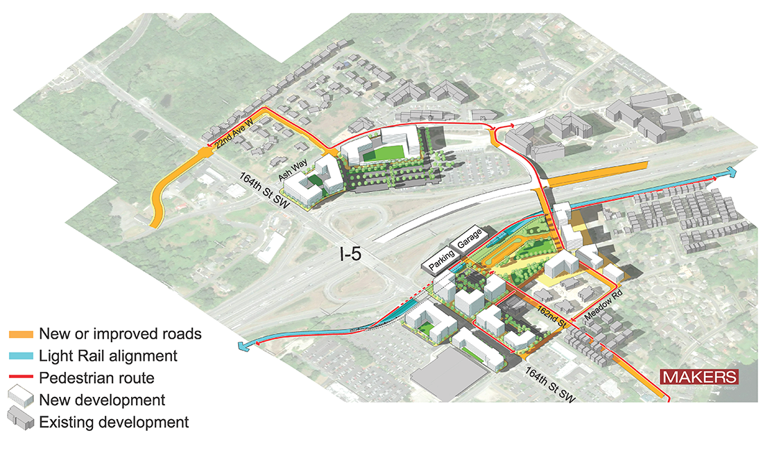 Aerial representation of Ash Way East of I-5 station option showing key features identified