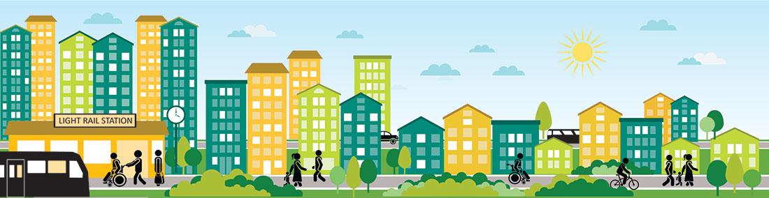 Transit-oriented development representation