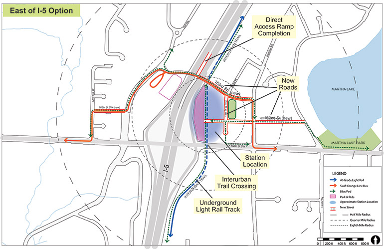 Map of Ash Way East of I-5 station option with key features identified