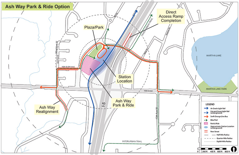 Map of Ash Way Park & Ride station option with key features identified